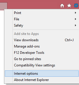 internet options in IE