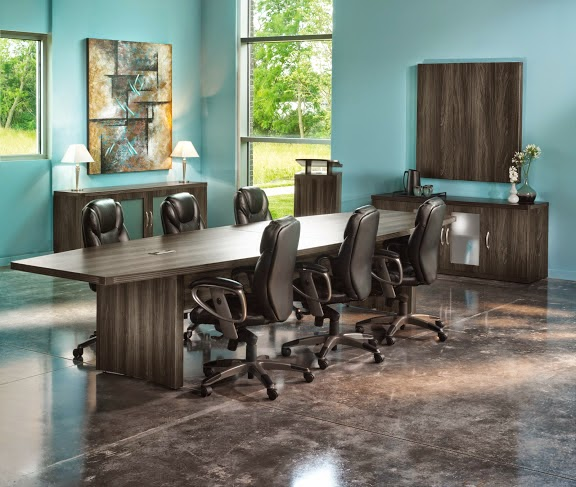 Mayline Aberdeen Conference Table in Gray Steel