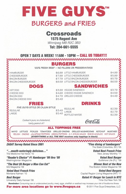 Five Guys - Regent: 4/5 - NewsWinnipeg.NetNewsWinnipeg.Net