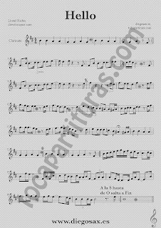 Partitura de Hello para Clarinete Lionel Richie  Sheet Music Clarinet Music Score Hello