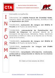 C.T.A. INFORMA CRÉDITO HORARIO CRISTOBAL NIETO, SEPTIEMBRE 2019