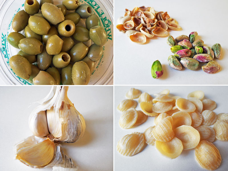 Cooking Weekends: Orecchiette with Pistachio & Picholine Olive Sauce
