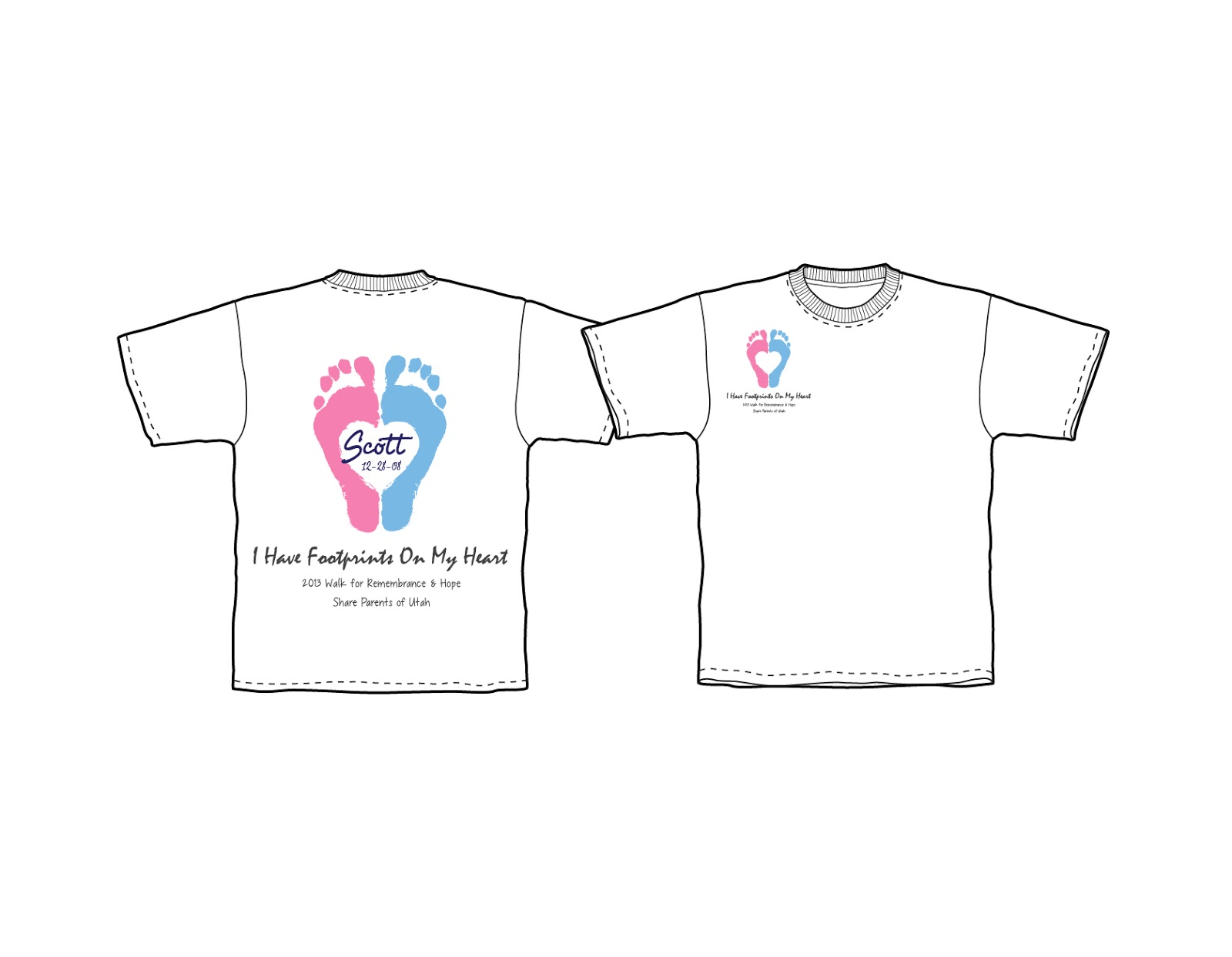 Shirt design utah - Here Are The Shirt Designs For The 2013 Walk The Name Written Inside The Footprint Is An Example Of What You Can Write On Your Shirt With A Fabric Marker