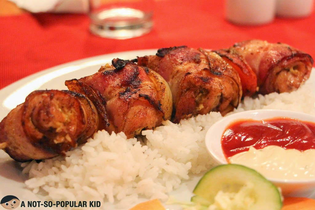 The highly recommended chicken kebab in Balkan Yugoslavian Home Cooking