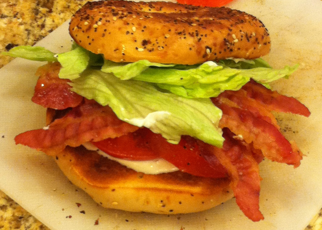 TASTE OF HAWAII: BACON, LETTUCE AND TOMATO ON A BAGEL