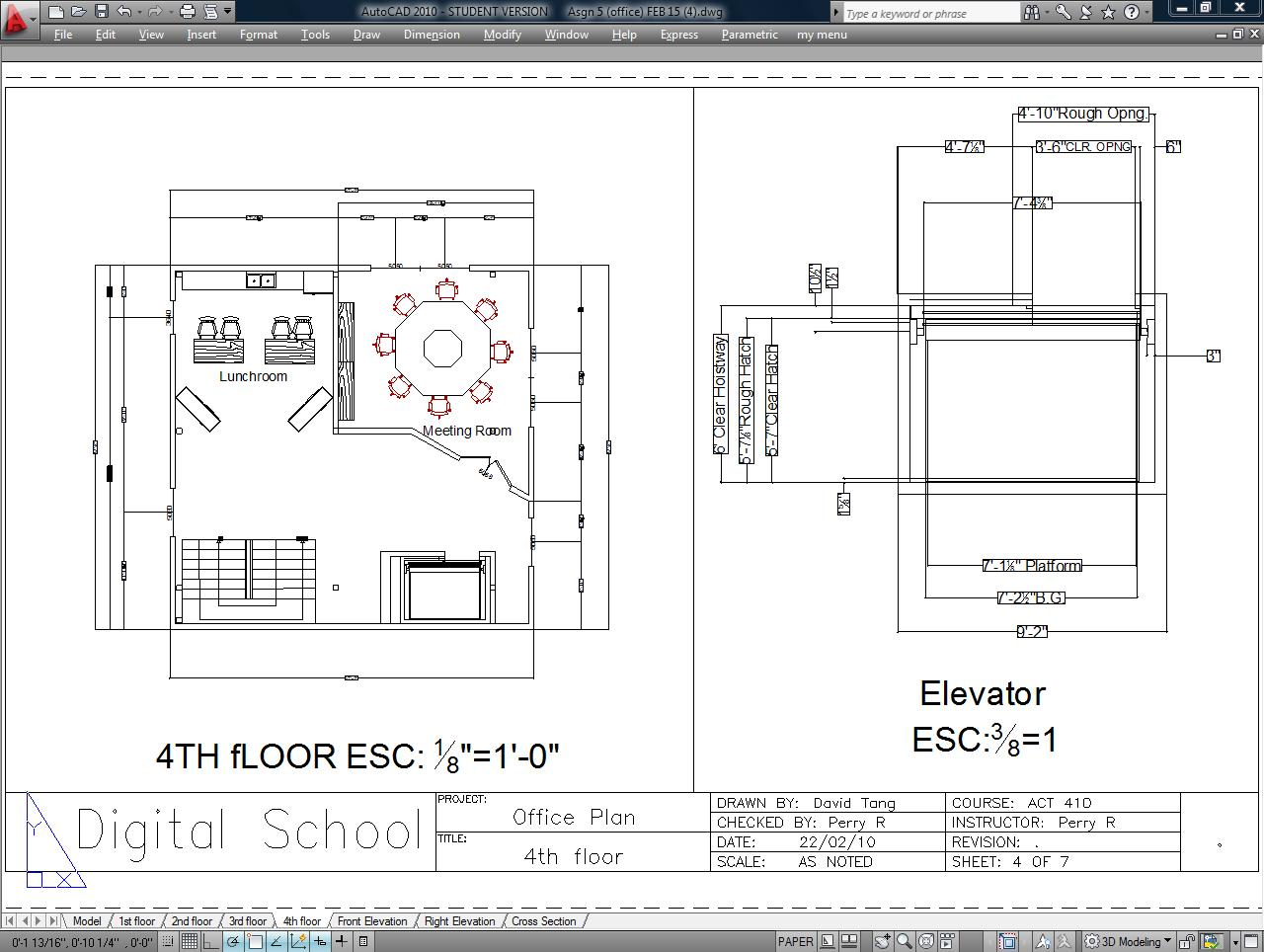 Portfolio drawings architectural ii cad for Elevator floor plan