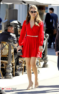 Maria Menounos Leggy Pictures in Red Short Dress at The Grove in LA  0006.jpg