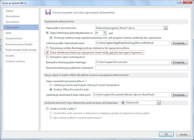 """Opcja """"Pokaż dodatkowe lokalizacje zapisywania nawet wtedy, gdy jest wymagane logowanie"""""""