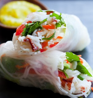 Wasabi Crab Salad Rolls with Ginger Coleslaw Recipe | Healthy Sea Foods Recipe