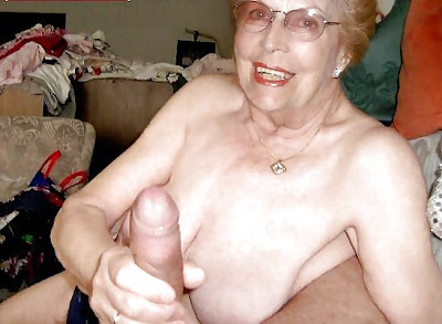 grandma stroking off husbands cock