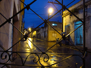 Santiago de Cuba our street in the rain at night