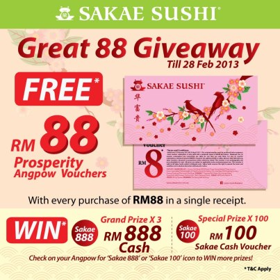 ... > Sakae Sushi FREE RM88 Prosperity Angpow Vouchers (ALL outlets