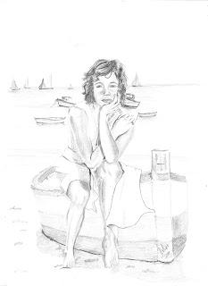 Mulher perto do mar (desenho)