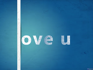 Love U Blue Text Wallpaper