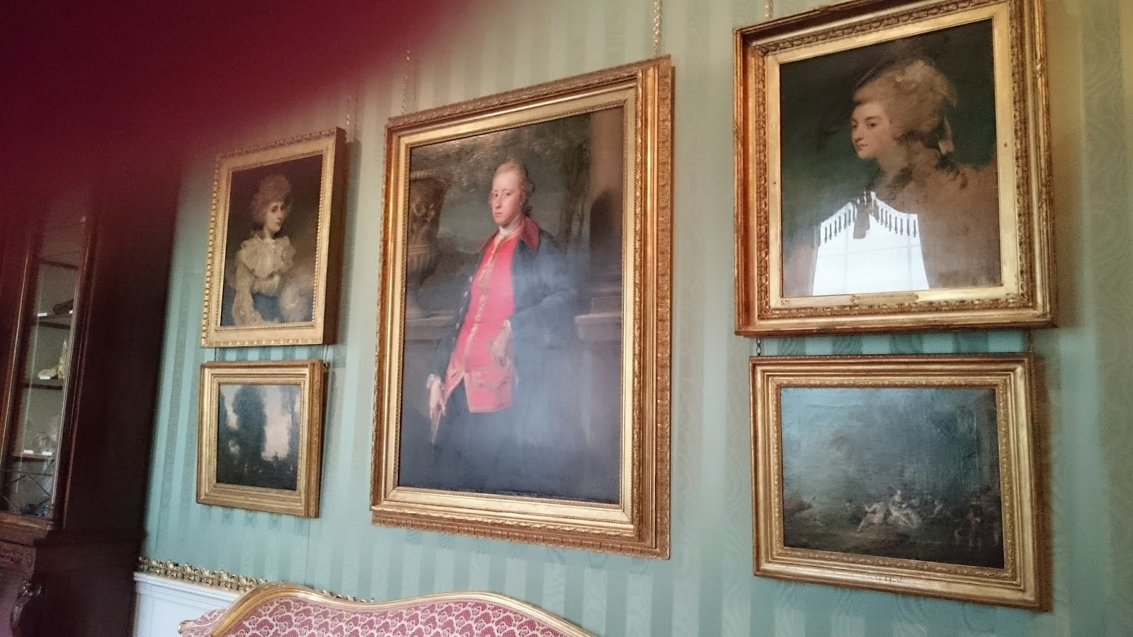 Portraits of the 5th Duke and his two wives, on the right, Lady Georgiana Spencer, and on the left, Lady Elizabeth Foster in the South Sketch Gallery, Chatsworth
