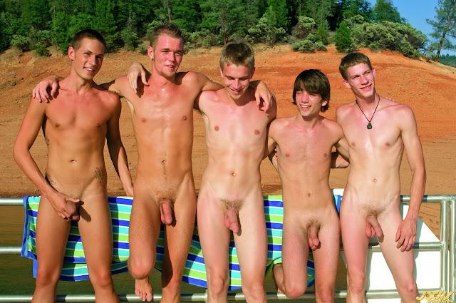 Naked Guy Group Selfies