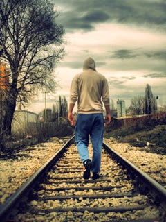 Alone Boy Walking On Railway Track Mobile Wallpaper Mobile
