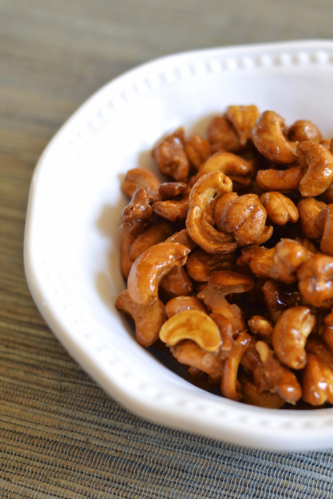 Cashews roasted with honey and ground ancho chili powder