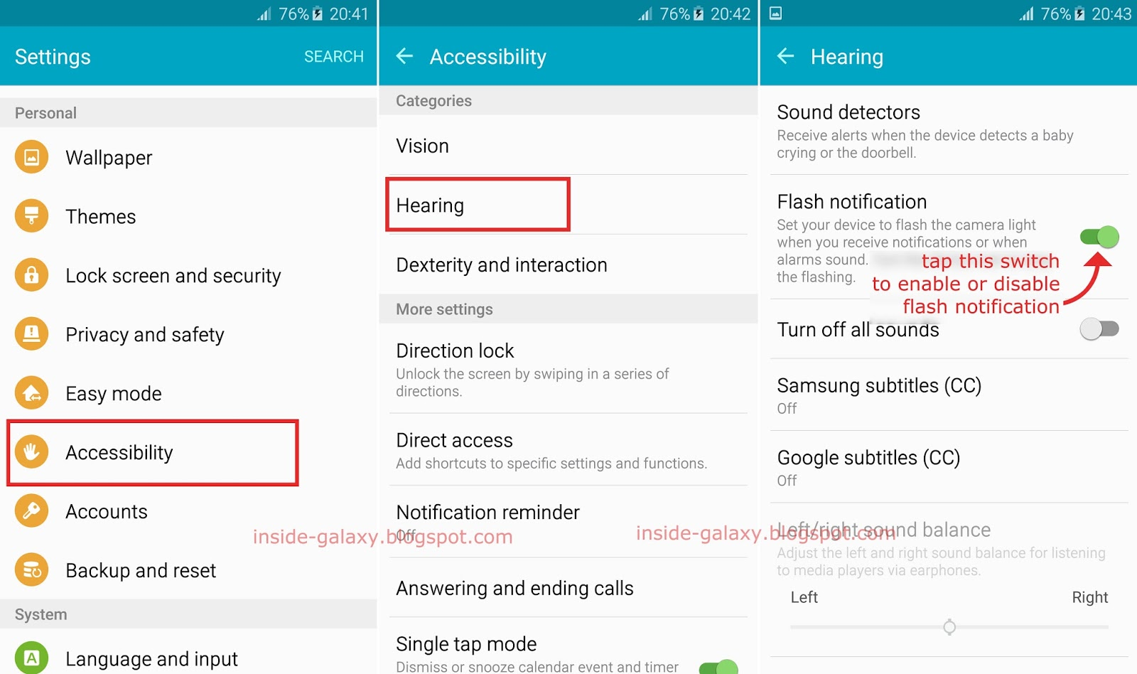 samsung galaxy s6 edge how to enable and use flash notification feature in android 5 1 1 lollipop. Black Bedroom Furniture Sets. Home Design Ideas