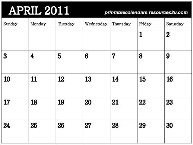 blank calendar april 2011. april 2011 blank calendar.