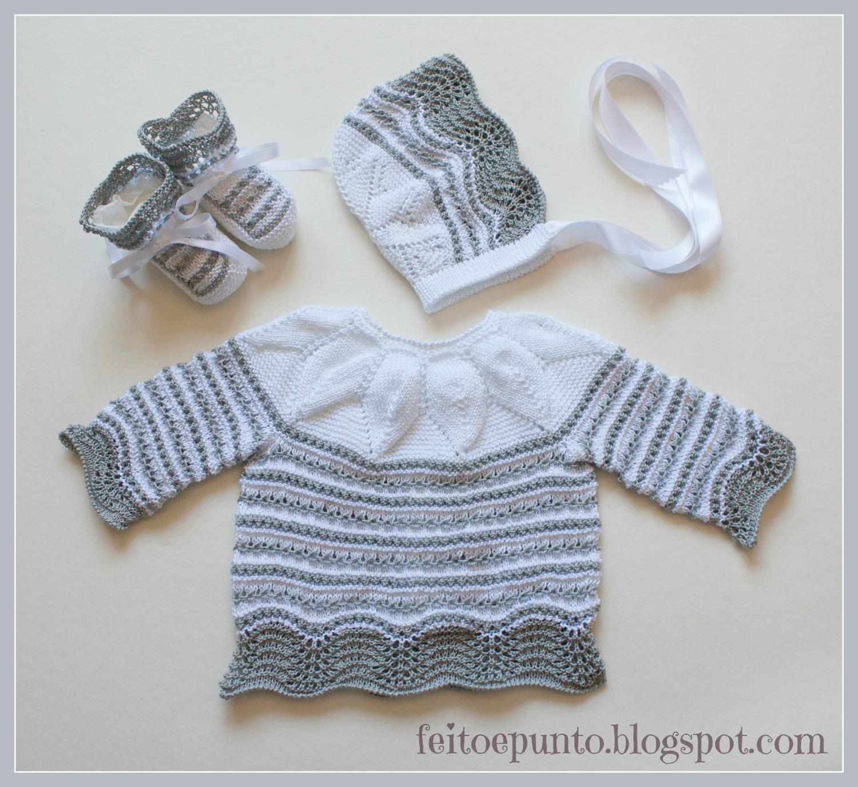 feitoepunto: Cómo se hizo... el conjunto de bebé en gris y blanco