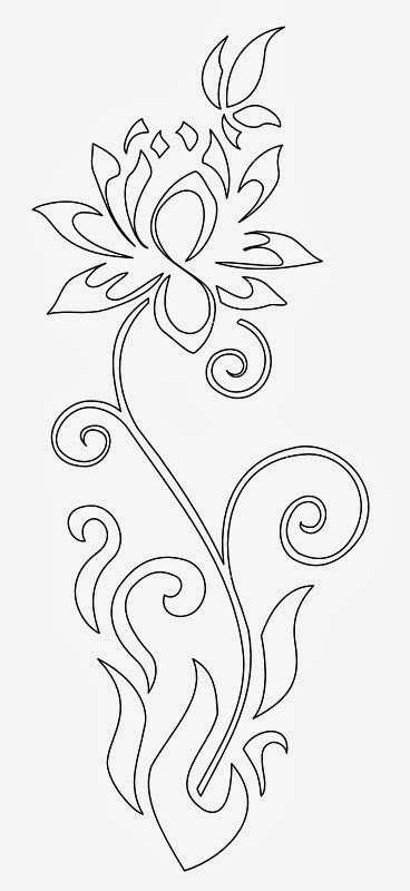Lotus and butterfly tattoo stencil