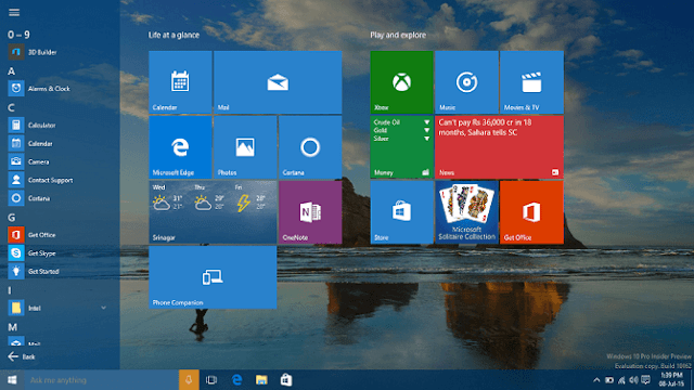 Windows 10 full start screen