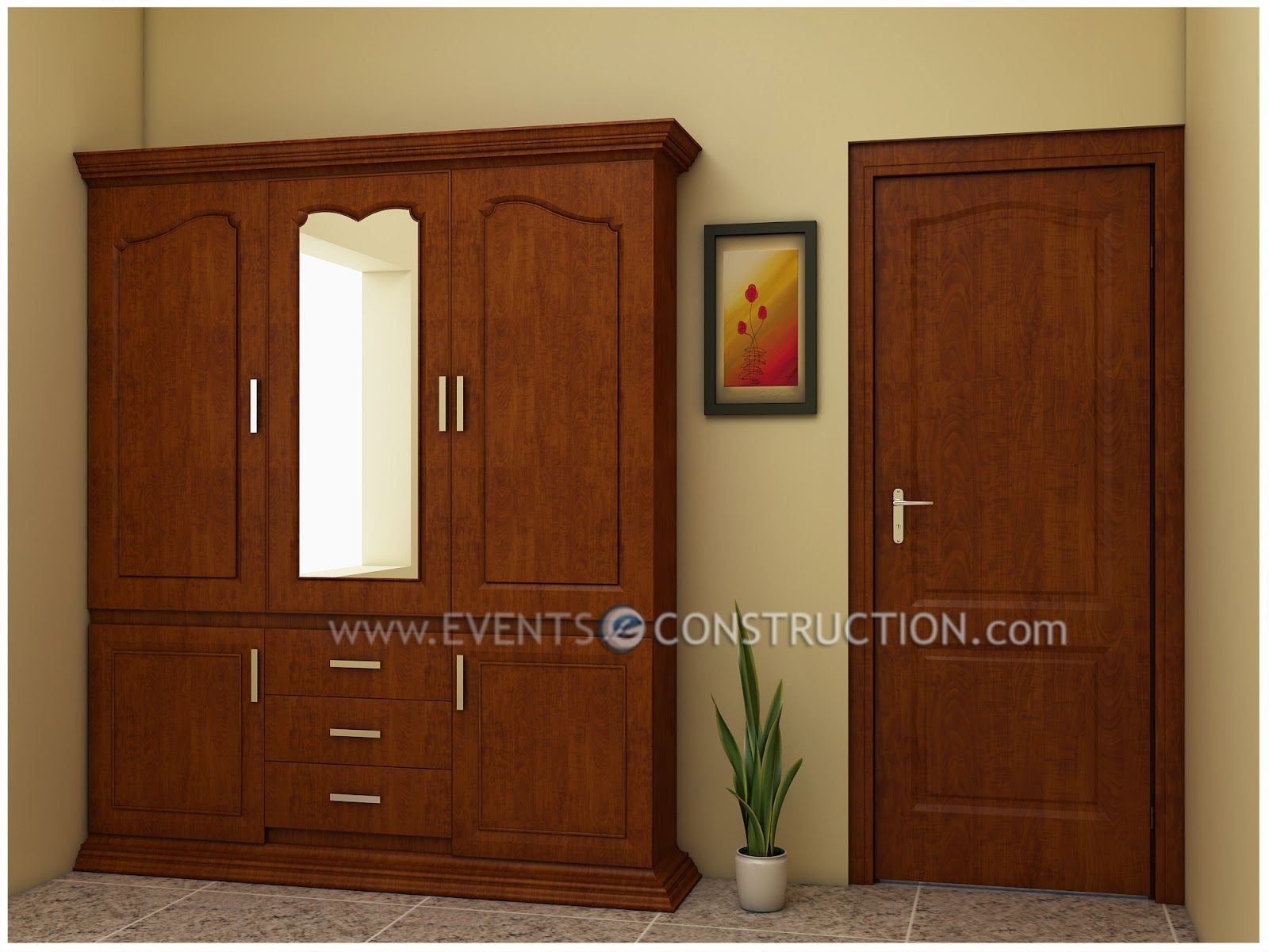 Wardrobe or dress shelf designed in wood for kerala home.