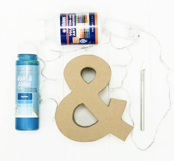 Material für den selbstgemachten Leuchtbuchstaben