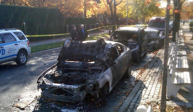 burned jewish cars nyc