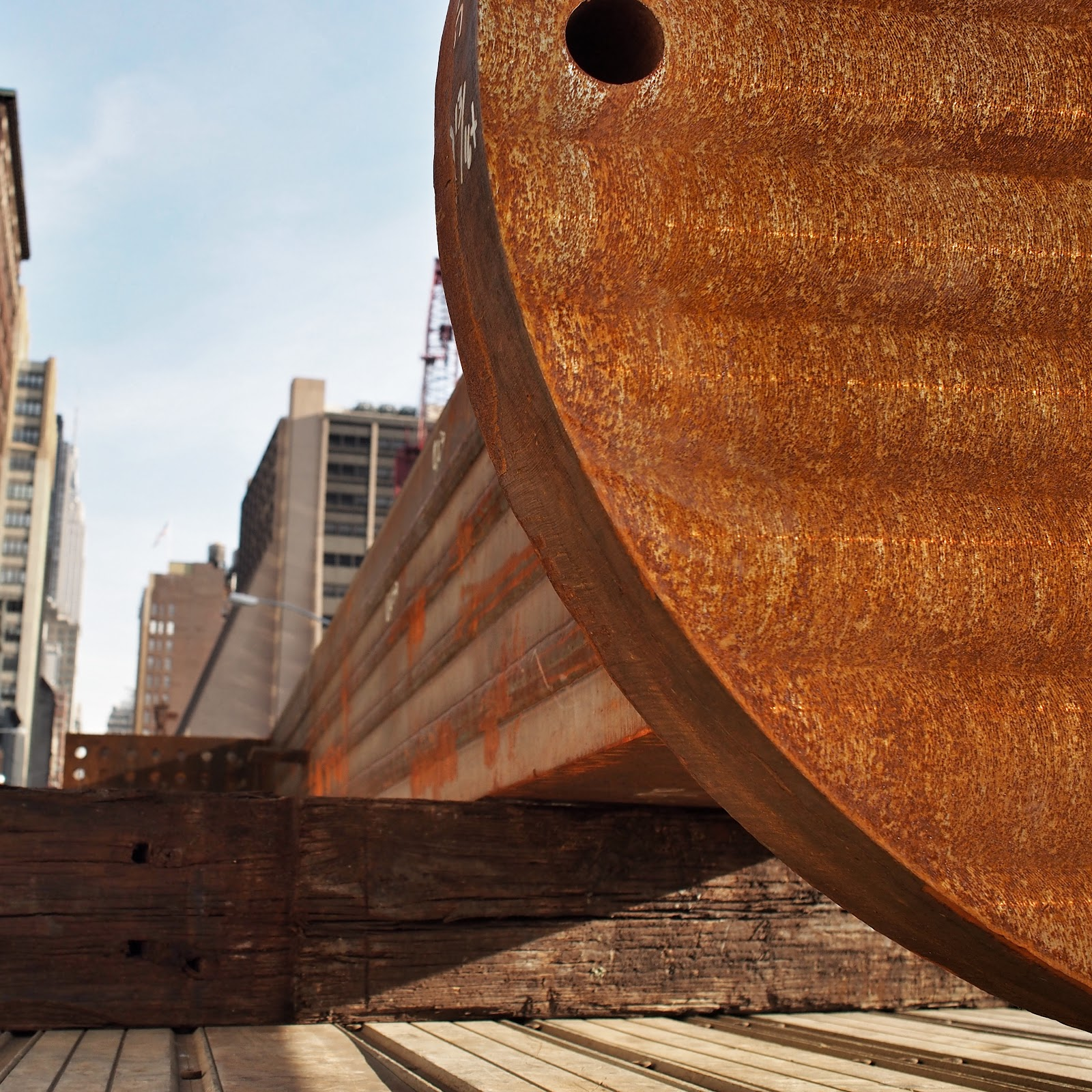Post #post #construction #nyc #hudsonyards #steelplates #nails ©2014 Nancy Lundebjerg