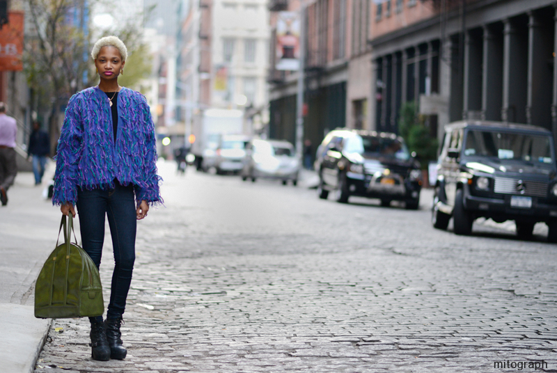 Stylist and Model Ni'ma Ford at Spring Street and Crosby Street of New York City
