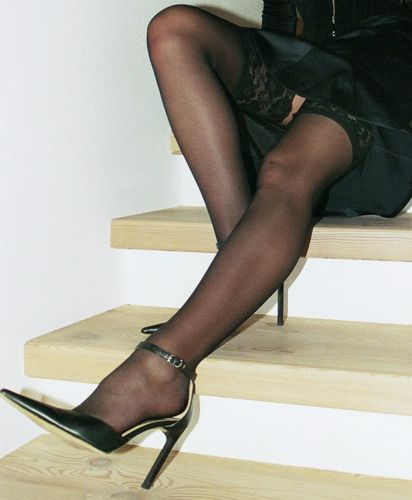 Black high heels and stockings even
