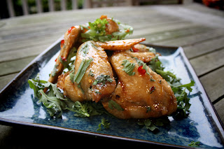 crispy caramel chicken wings with chrysanthemum