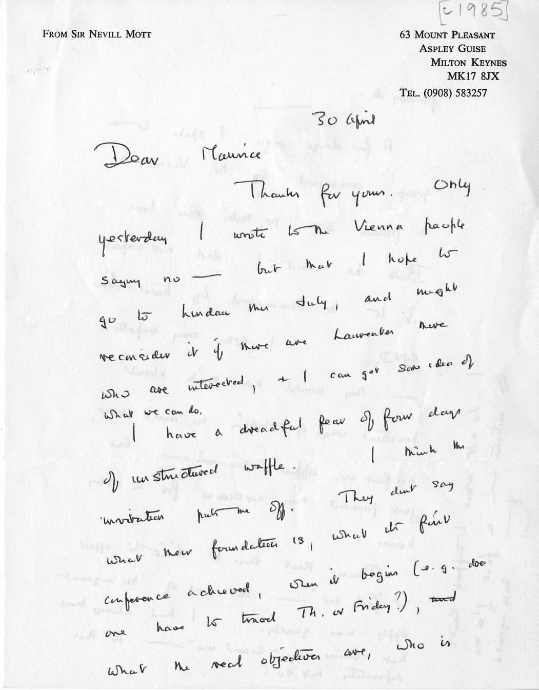 Dna and social responsibility cataloguing the personal papers of dna and social responsibility cataloguing the personal papers of maurice wilkins 1916 2004 not another conference a letter from sir nevill mott on the spiritdancerdesigns Image collections
