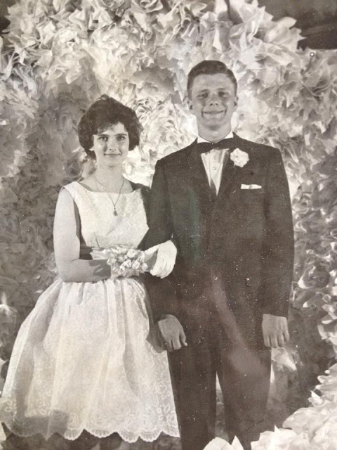 Judy Aley with date at the Prom (1962 - Willits High School)