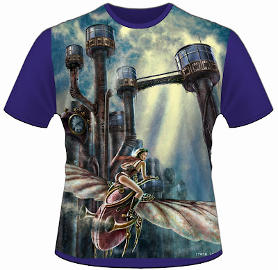 escape steampunk city t-shirt design