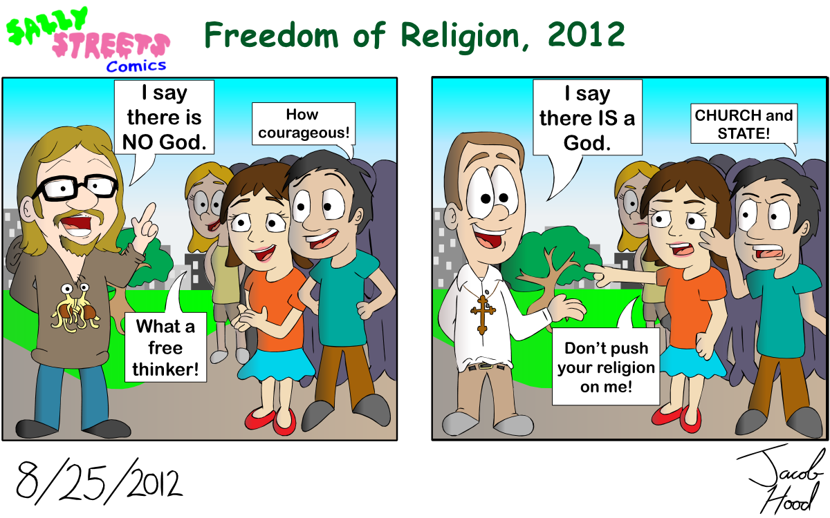 the freedom of religion in the Emily marroquin definition freedom of religion, as guaranteed by the first amendment of the united states constitution, involves two important components the first is a prohibition on the establishment of religion by government - the separation of church and state and the second, ensures that the government allows for the practice of.