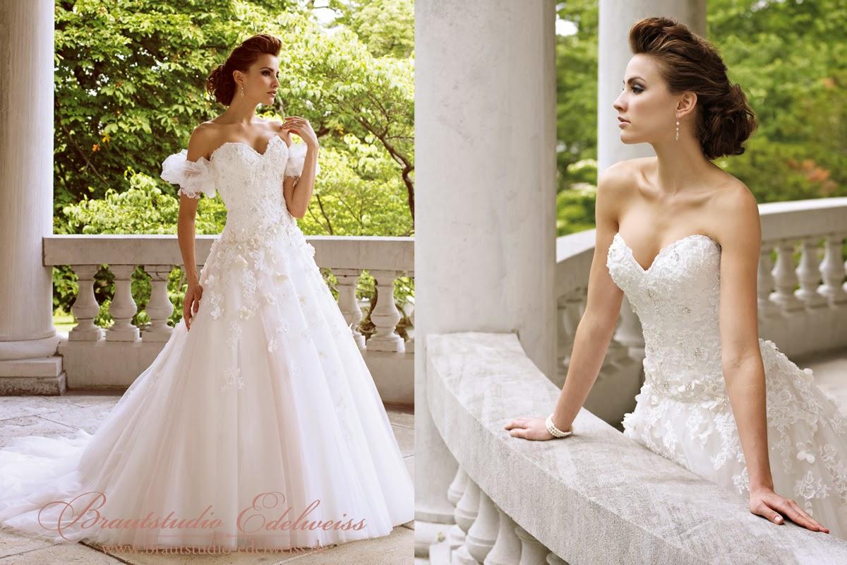 Brautkleid aus Tüll und Blumen. Prinzessinen Brautkleid ...