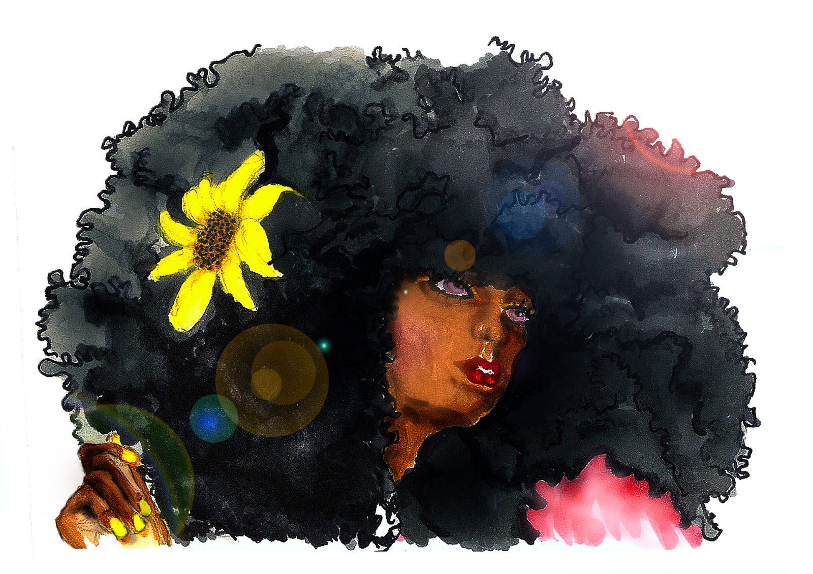 Afro woman,, illustration, promarker, crea, marqueur marker, sunshine, sun,happyness, woohzoolyn