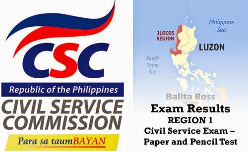 Region 1 - Civil Service Exam Results