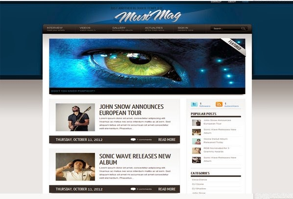 Music Mag Best Blogger template Free Download