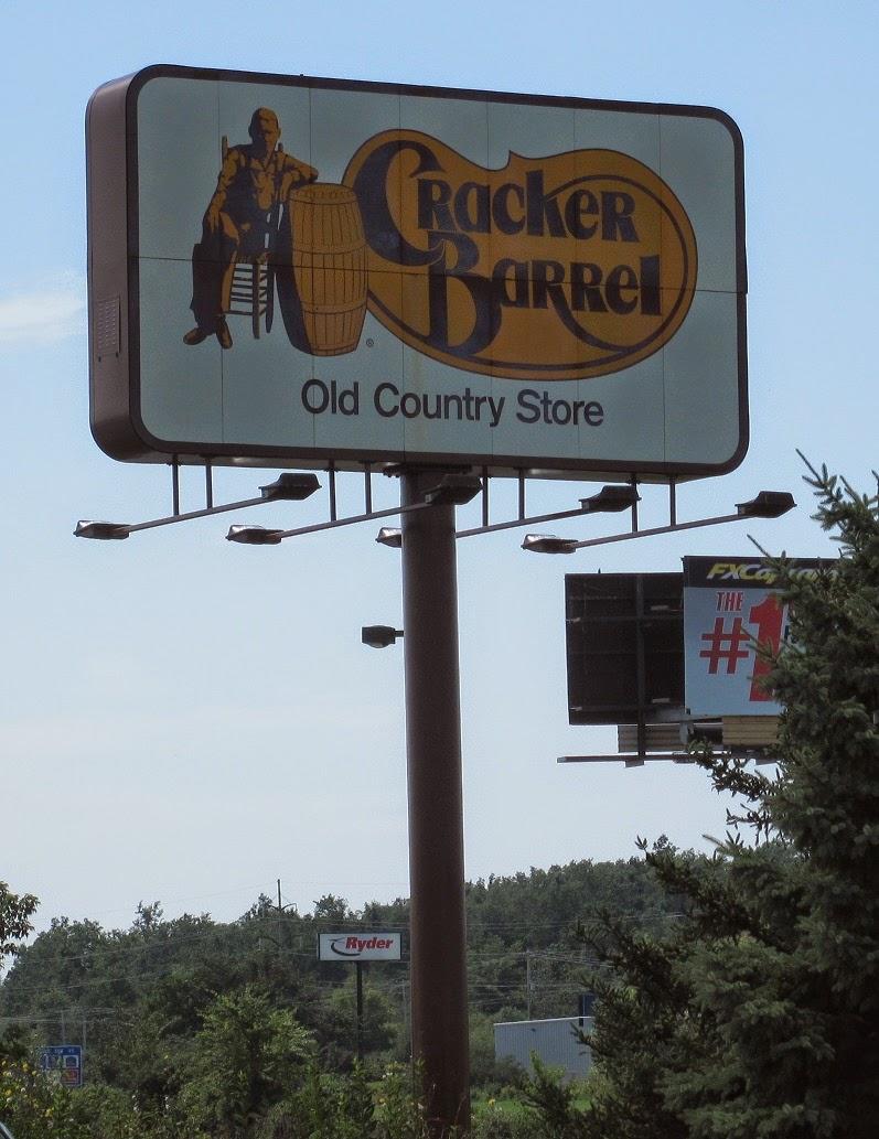 the distinctive highway side signage used by cracker barrel