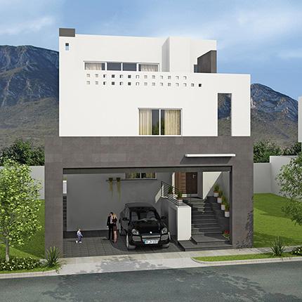 Fachadas minimalistas fachada minimalista con s tano for Cocheras minimalistas