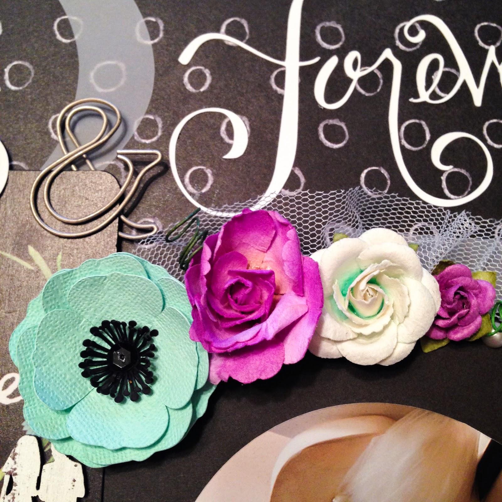 scrapbooking, custom scrapbook, wedding, love, ampersand, die cut, tulle, flowers, poppies, roses, paperclip, chalkboard, Prima Marketing, Maya Road