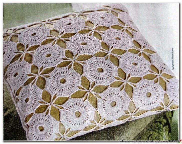 Almohadón con fino diseño al crochet con patrón