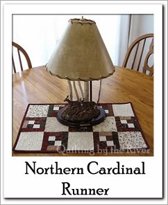Northern Cardinal Table Runner Free Tutorial at Freemotion by the River
