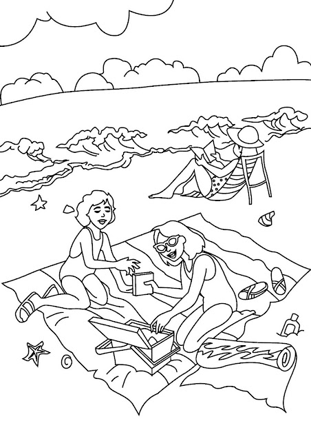Gambar mewarna - Berkelah di pantai