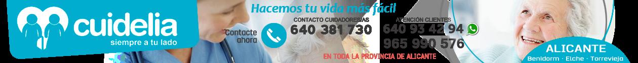 CUIDELIA · 965 990 576 · Cuidado de mayores en Alicante