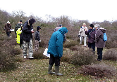 Ishpi Blatchley (second from rght) addressing a group on lichen heathland in Hayes Common